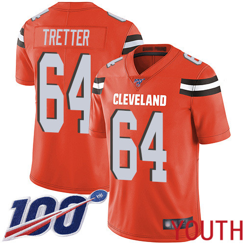 Cleveland Browns JC Tretter Youth Orange Limited Jersey 64 NFL Football Alternate 100th Season Vapor Untouchable