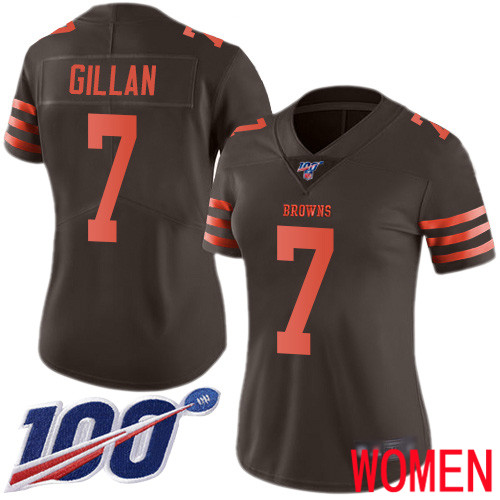 Cleveland Browns Jamie Gillan Women Brown Limited Jersey 7 NFL Football 100th Season Rush Vapor Untouchable