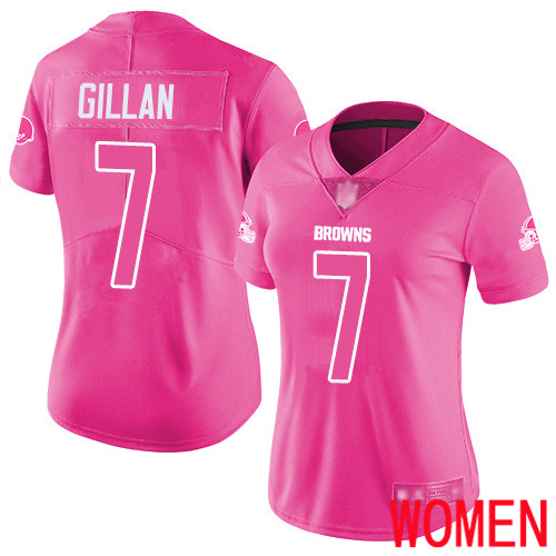 Cleveland Browns Jamie Gillan Women Pink Limited Jersey 7 NFL Football Rush Fashion