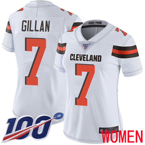 Cleveland Browns Jamie Gillan Women White Limited Jersey 7 NFL Football Road 100th Season Vapor Untouchable