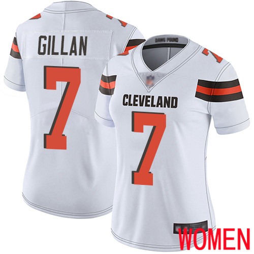 Cleveland Browns Jamie Gillan Women White Limited Jersey 7 NFL Football Road Vapor Untouchable