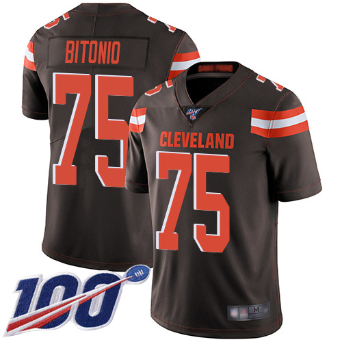 Cleveland Browns Joel Bitonio Men Brown Limited Jersey 75 NFL Football Home 100th Season Vapor Untouchable