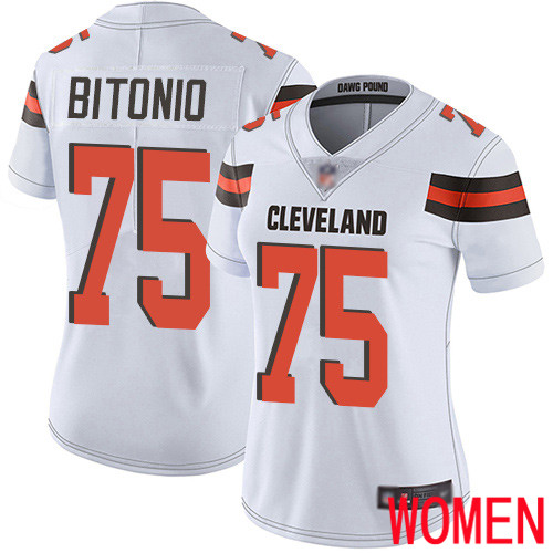 Cleveland Browns Joel Bitonio Women White Limited Jersey 75 NFL Football Road Vapor Untouchable