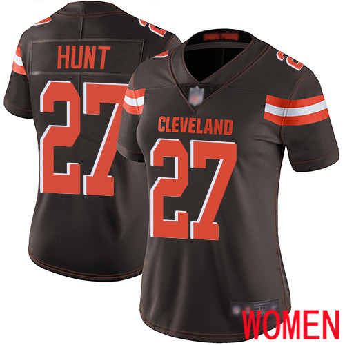 Cleveland Browns Kareem Hunt Women Brown Limited Jersey 27 NFL Football Home Vapor Untouchable