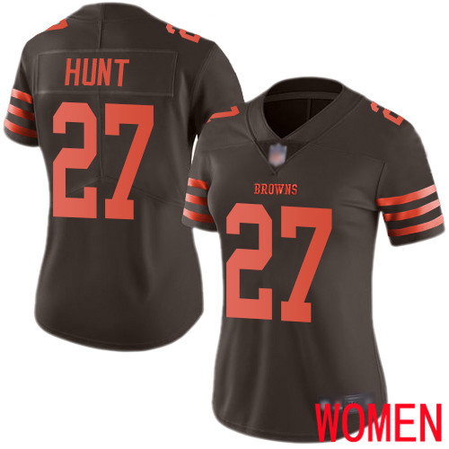 Cleveland Browns Kareem Hunt Women Brown Limited Jersey 27 NFL Football Rush Vapor Untouchable