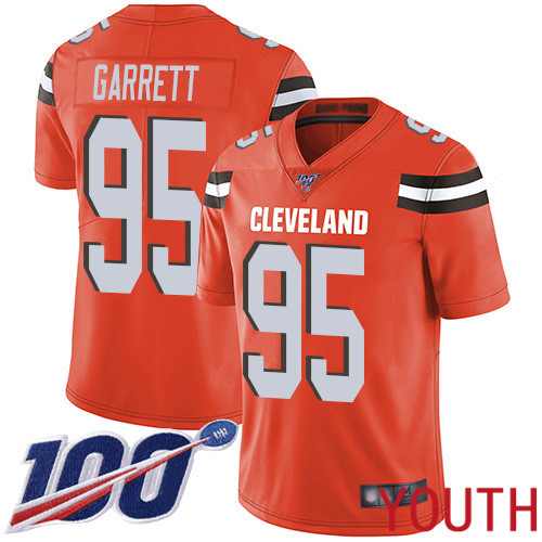 Cleveland Browns Myles Garrett Youth Orange Limited Jersey 95 NFL Football Alternate 100th Season Vapor Untouchable