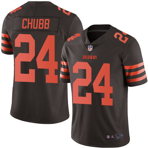 Cleveland Browns Nick Chubb Men Brown Limited Jersey 24 NFL Football Rush Vapor Untouchable