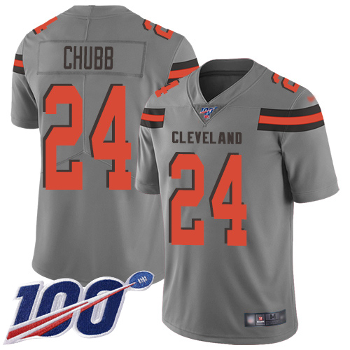 Cleveland Browns Nick Chubb Men Gray Limited Jersey 24 NFL Football 100th Season Inverted Legend