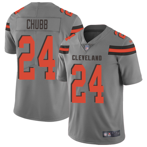 Cleveland Browns Nick Chubb Men Gray Limited Jersey 24 NFL Football Inverted Legend