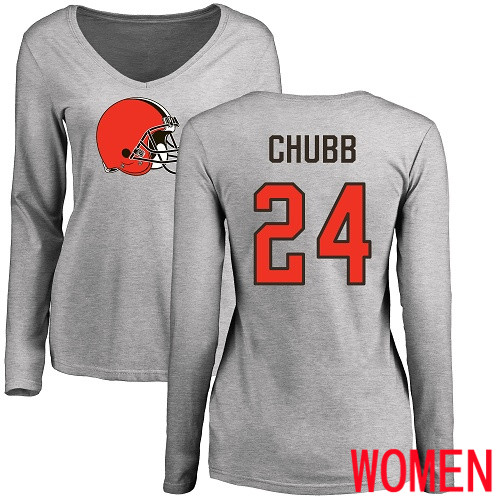 Cleveland Browns Nick Chubb Women Ash Jersey 24 NFL Football Name and Number Logo Long Sleeve T Shirt