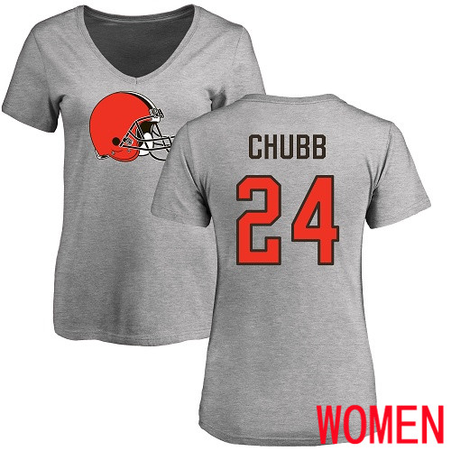 Cleveland Browns Nick Chubb Women Ash Jersey 24 NFL Football Name and Number Logo T Shirt