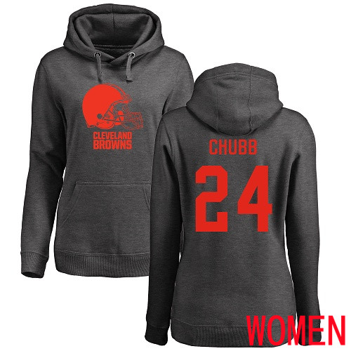 Cleveland Browns Nick Chubb Women Ash Jersey 24 NFL Football One Color Pullover Hoodie Sweatshirt