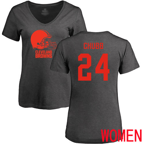 Cleveland Browns Nick Chubb Women Ash Jersey 24 NFL Football One Color T Shirt