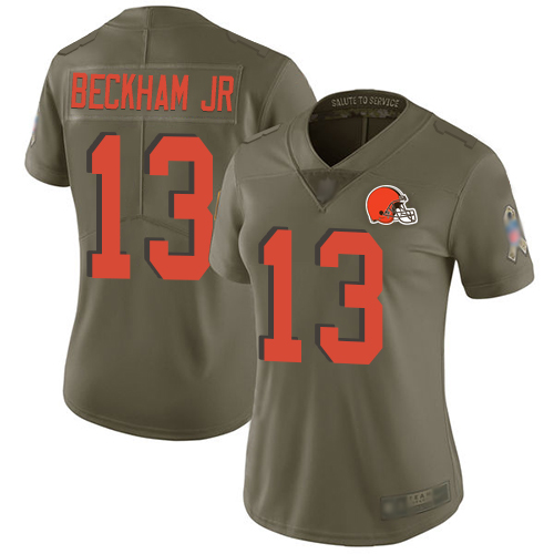 Cleveland Browns Odell Beckham Jr Women Olive Limited Jersey 13 NFL Football 2017 Salute To Service