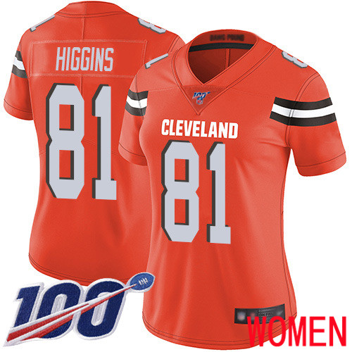 Cleveland Browns Rashard Higgins Women Orange Limited Jersey 81 NFL Football Alternate 100th Season Vapor Untouchable