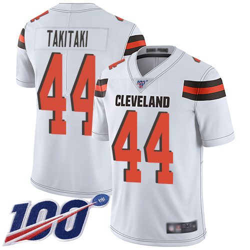 Cleveland Browns Sione Takitaki Men White Limited Jersey 44 NFL Football Road 100th Season Vapor Untouchable