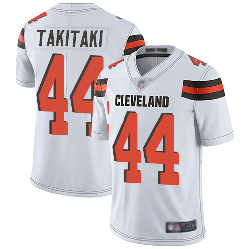 Cleveland Browns Sione Takitaki Men White Limited Jersey 44 NFL Football Road Vapor Untouchable