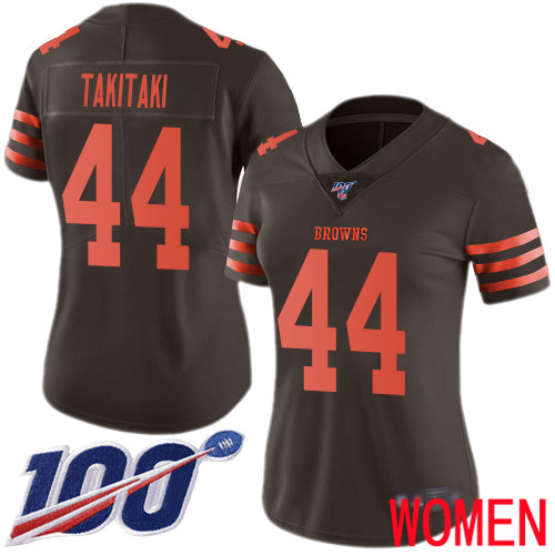 Cleveland Browns Sione Takitaki Women Brown Limited Jersey 44 NFL Football 100th Season Rush Vapor Untouchable