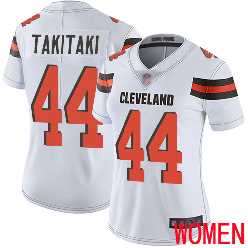 Cleveland Browns Sione Takitaki Women White Limited Jersey 44 NFL Football Road Vapor Untouchable