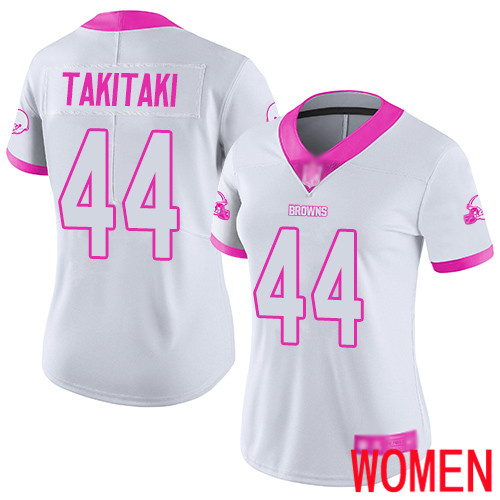 Cleveland Browns Sione Takitaki Women White Pink Limited Jersey 44 NFL Football Rush Fashion