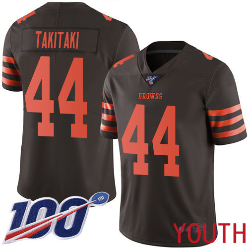 Cleveland Browns Sione Takitaki Youth Brown Limited Jersey 44 NFL Football 100th Season Rush Vapor Untouchable