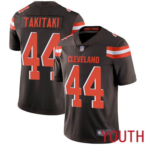 Cleveland Browns Sione Takitaki Youth Brown Limited Jersey 44 NFL Football Home Vapor Untouchable