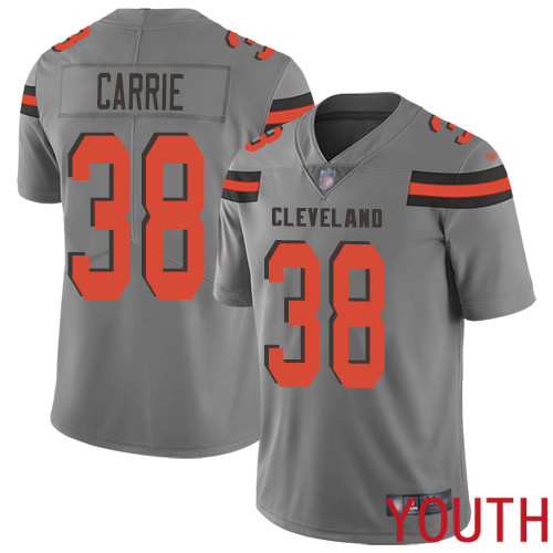 Cleveland Browns T J Carrie Youth Gray Limited Jersey 38 NFL Football Inverted Legend