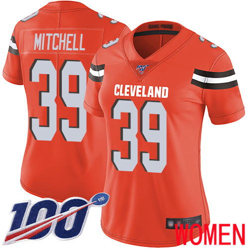 Cleveland Browns Terrance Mitchell Women Orange Limited Jersey 39 NFL Football Alternate 100th Season Vapor Untouchable