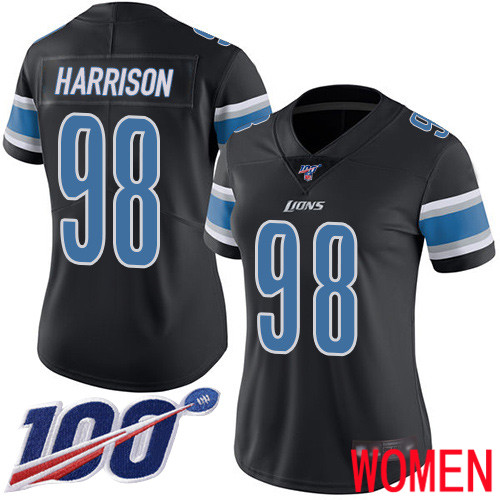 Detroit Lions Limited Black Women Damon Harrison Jersey NFL Football 98 100th Season Rush Vapor Untouchable