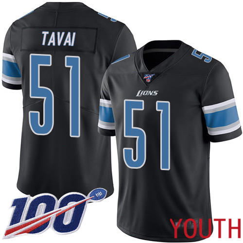 Detroit Lions Limited Black Youth Jahlani Tavai Jersey NFL Football 51 100th Season Rush Vapor Untouchable