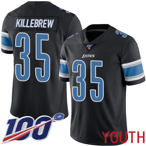 Detroit Lions Limited Black Youth Miles Killebrew Jersey NFL Football 35 100th Season Rush Vapor Untouchable