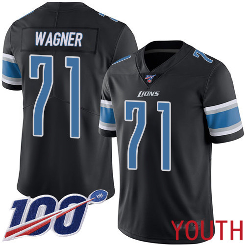 Detroit Lions Limited Black Youth Ricky Wagner Jersey NFL Football 71 100th Season Rush Vapor Untouchable