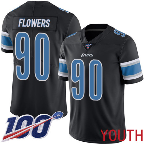 Detroit Lions Limited Black Youth Trey Flowers Jersey NFL Football 90 100th Season Rush Vapor Untouchable