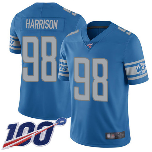 Detroit Lions Limited Blue Men Damon Harrison Home Jersey NFL Football 98 100th Season Vapor Untouchable