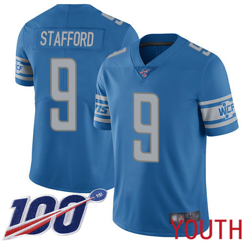 Detroit Lions Limited Blue Youth Matthew Stafford Home Jersey NFL Football 9 100th Season Vapor Untouchable