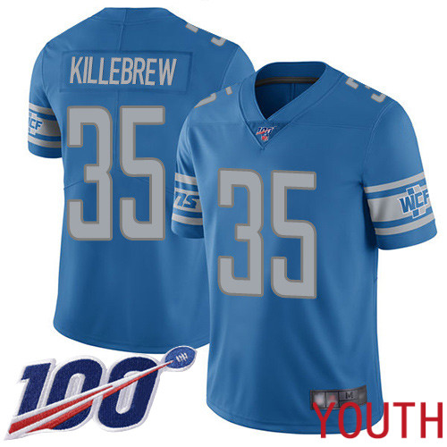 Detroit Lions Limited Blue Youth Miles Killebrew Home Jersey NFL Football 35 100th Season Vapor Untouchable