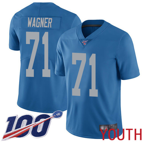 Detroit Lions Limited Blue Youth Ricky Wagner Alternate Jersey NFL Football 71 100th Season Vapor Untouchable