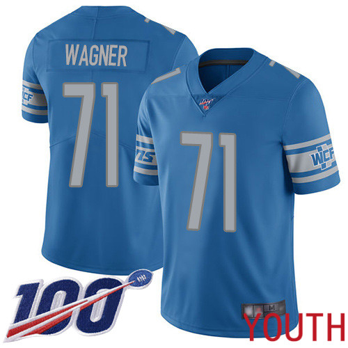 Detroit Lions Limited Blue Youth Ricky Wagner Home Jersey NFL Football 71 100th Season Vapor Untouchable