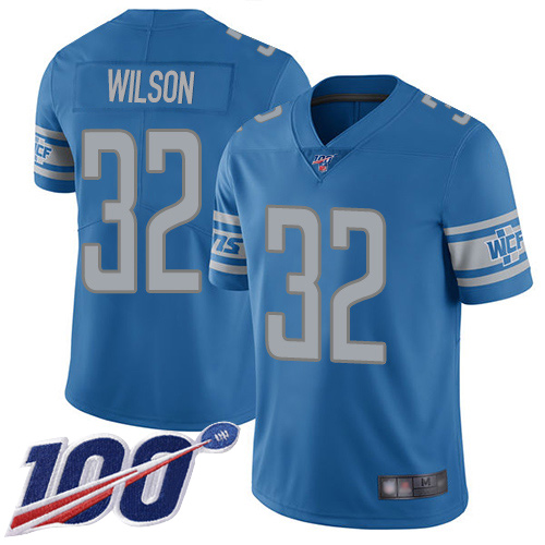 Detroit Lions Limited Blue Youth Tavon Wilson Home Jersey NFL Football 32 100th Season Vapor Untouchable