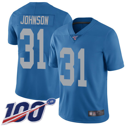 Detroit Lions Limited Blue Youth Ty Johnson Alternate Jersey NFL Football 31 100th Season Vapor Untouchable