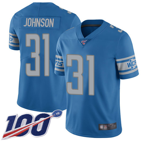 Detroit Lions Limited Blue Youth Ty Johnson Home Jersey NFL Football 31 100th Season Vapor Untouchable