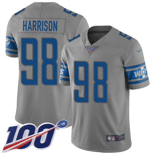 Detroit Lions Limited Gray Men Damon Harrison Jersey NFL Football 98 100th Season Inverted Legend