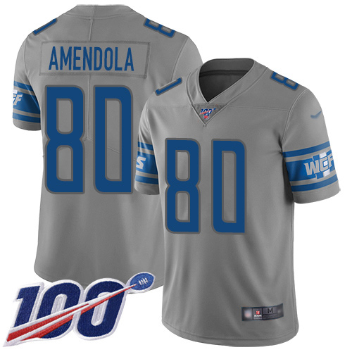 Detroit Lions Limited Gray Men Danny Amendola Jersey NFL Football 80 100th Season Inverted Legend