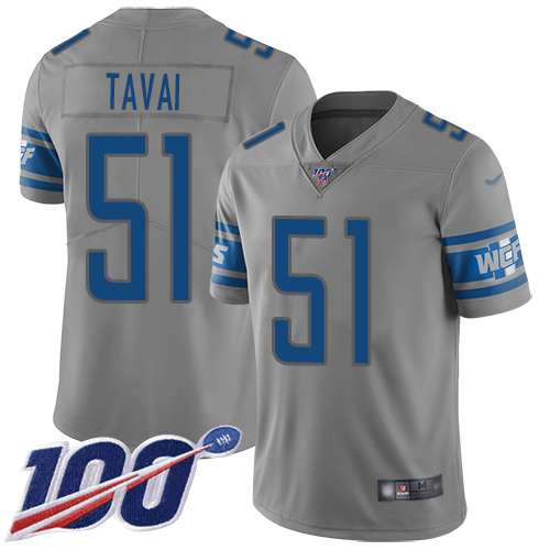 Detroit Lions Limited Gray Men Jahlani Tavai Jersey NFL Football 51 100th Season Inverted Legend