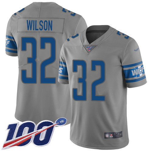 Detroit Lions Limited Gray Men Tavon Wilson Jersey NFL Football 32 100th Season Inverted Legend