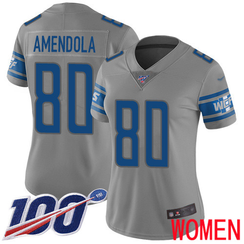 Detroit Lions Limited Gray Women Danny Amendola Jersey NFL Football 80 100th Season Inverted Legend