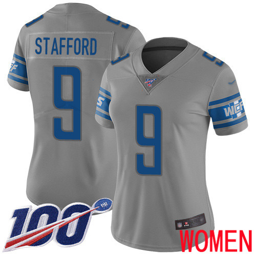 Detroit Lions Limited Gray Women Matthew Stafford Jersey NFL Football 9 100th Season Inverted Legend