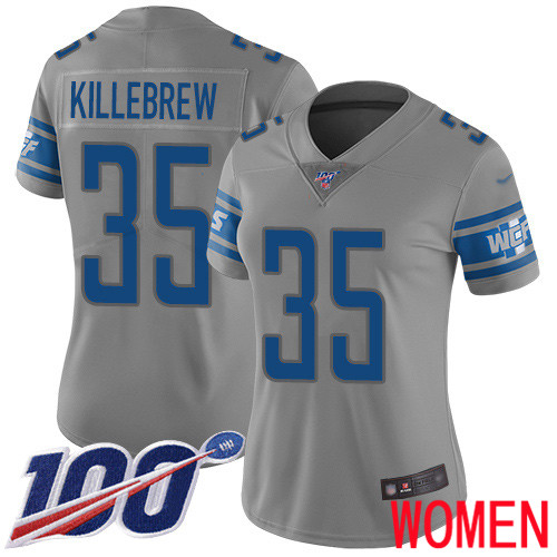 Detroit Lions Limited Gray Women Miles Killebrew Jersey NFL Football 35 100th Season Inverted Legend