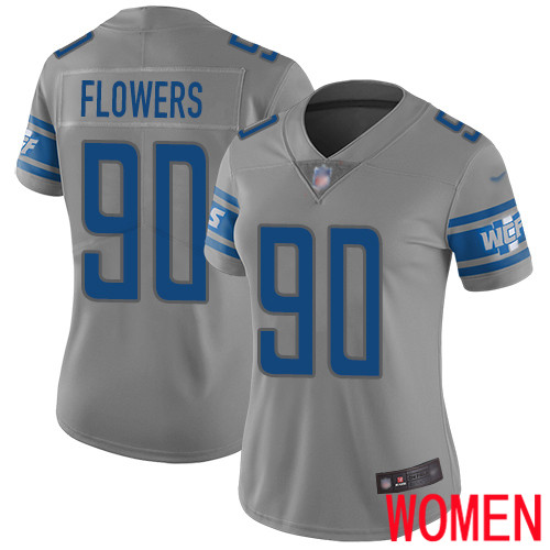 Detroit Lions Limited Gray Women Trey Flowers Jersey NFL Football 90 Inverted Legend