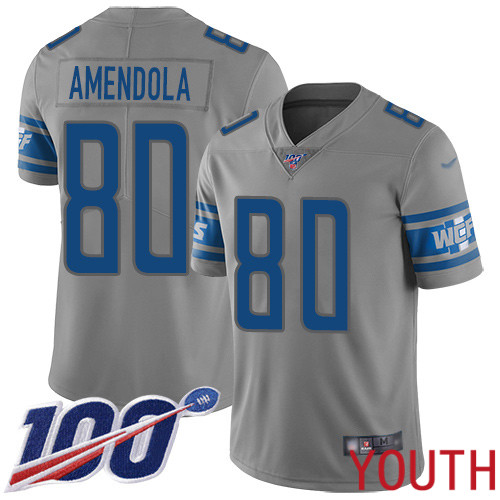 Detroit Lions Limited Gray Youth Danny Amendola Jersey NFL Football 80 100th Season Inverted Legend
